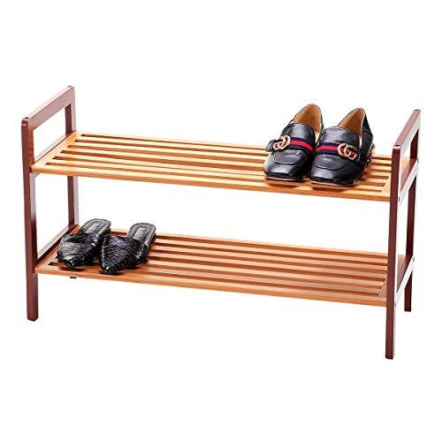 New Ridge Home Goods HX-70053 Natural Bamboo 2-Tier Rack Shoe Tower Shelf Storage Organizer Cabinet, Brown Solid Wood ()