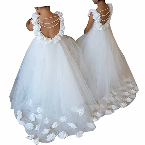 Boloni Dress First Communion Dress Little Flower Train and Back Hollow Out Pearls Flower Girl Dress 2-14(White 4)