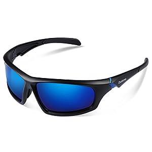 Duduma Tr601 Polarized Sports Sunglasses for Baseball Cycling Fishing Golf Superlight Frame (639 Black matte frame with blue lens)