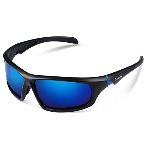 Duduma Tr601 Polarized Sports Sunglasses for Baseball Cycling Fishing Golf Superlight Frame (639 Black matte frame with blue lens)