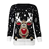 FANSHONN Women's Ugly Christmas Sweater Reindeer Printed Round Neck Long Sleeve Sweatshirt Casual Pullover Tops