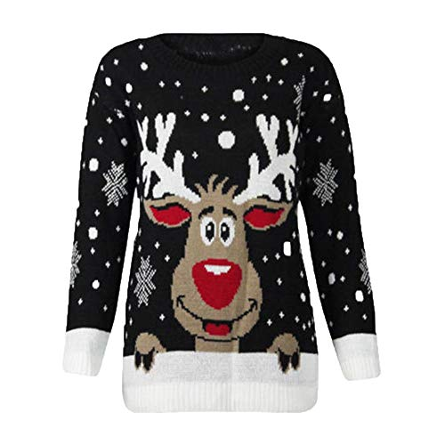 Fiaya Women's Merry Christmas Plus Size Deer Snowflake Printed Long Sleeve Sweatshirt Tops Pullover Blouse (S, Black)