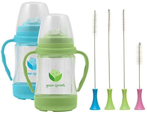Green Sprouts 4 Ounce Glass Sip 'n Straw Cup, 2 Pack with Munchkin Cleaning Brush Set, (Green Sprouts Aqua Bottle)