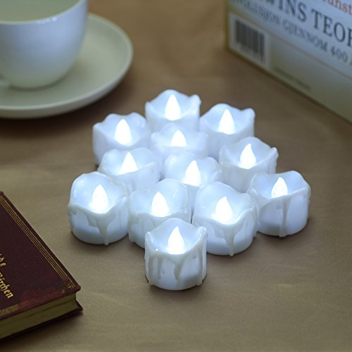 PChero Timer Candles, 12pcs Flickering Battery Operated LED Flameless Tea Light Candles, Perfect for Birthday Wedding Party Home Seasonal & Festival Decor - [Cold White] by PChero (Image #7)