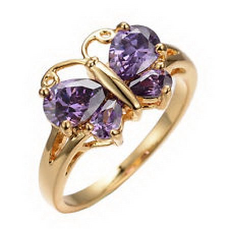 - jacob alex ring Cute Purple Amethyst Butterfly Shaped Gem Engagement Ring 10K Yellow Gold Filled size 6
