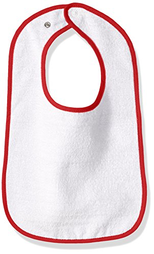 Clementine Baby Terry Bib with Reinforced Back Snaps and Contrasting Binding, White/red, OS