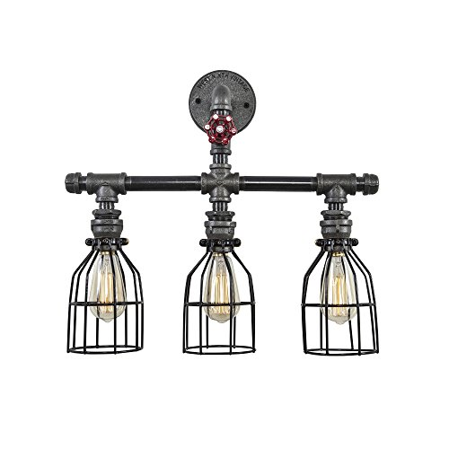 West Ninth Vintage Triple Vanity Iron Pipe Light With Cages
