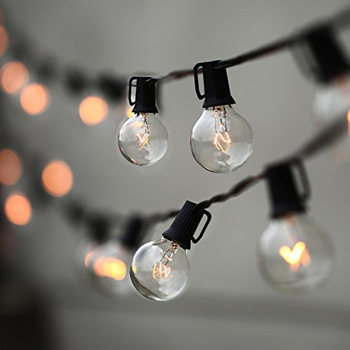 Lampat String Lights, Vintage Backyard Patio Lights with 25 Clear Globe Bulbs-UL listed for Indoor/Outdoor Use, Globe Wedding Light String, Umbrella String Light 25FT