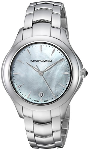 Emporio Armani Swiss Made Women's 'Esedra' Quartz Stainless Steel Casual Watch, Color: Silver-Tone (Model: ()