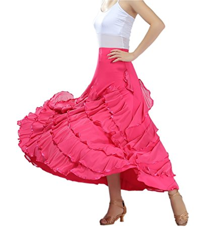 CISMARK Elegant Big Race Long Swing Ballroom Dancing Latin Dance Skirt Rose, One Size