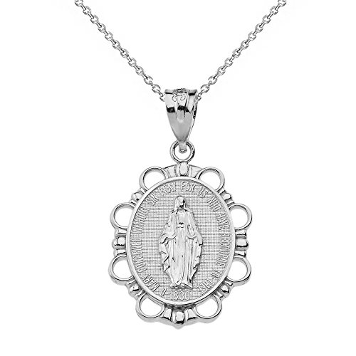 ulous Medal Of Blessed Virgin Mary Pendant Necklace (Small), 22