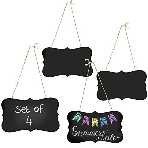 MyGift Set of 4 Vintage Style 2in1 Convertible Hanging / Standing Metal Chalkboard Sign