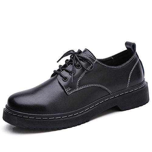 HKR-CBK02heise37 Women Lace Up Leather Oxfords Soft Toe Slip Resistant Industrial Construction Work Shoes Black 6.5 B(M) US Toe Slip Resistant Oxford