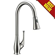 Avola Solid Brass Pull Out Kitchen Faucet, Brushed Stainless Steel Single Handle Pull Down Sprayer Kitchen Mixer Faucet