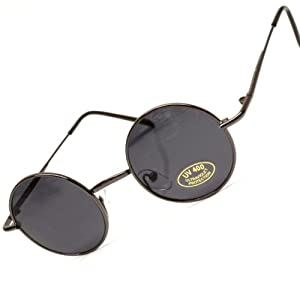 "1 1/2"" Lens Small Size Round Circle Retro Colored Lens Sunglasses (Black/Smoke, 1 1/2)"