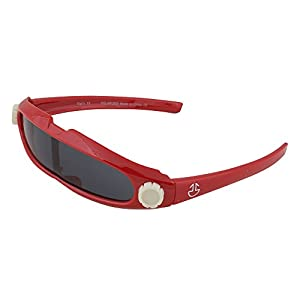 Kids Flexible Rubber Sunglasses for Boys and Girls - Red Cyclops Style Bendable and Unbreakable Frame - 100% UV Protection and Polarized Lenses - By Optix 55