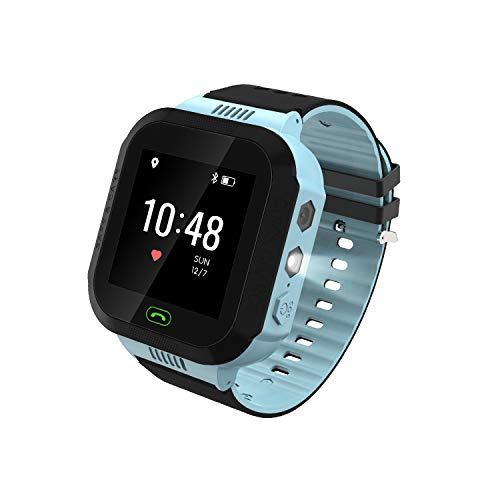 Wonbo Kid Smart Watch, Soft Silicone GPS Tracker with SIM Slot SOS Call Camera Touch Screen Real-time Location Finder Anti-Lost Alarm Remote Remove Alert for Boys Girls (Blue)