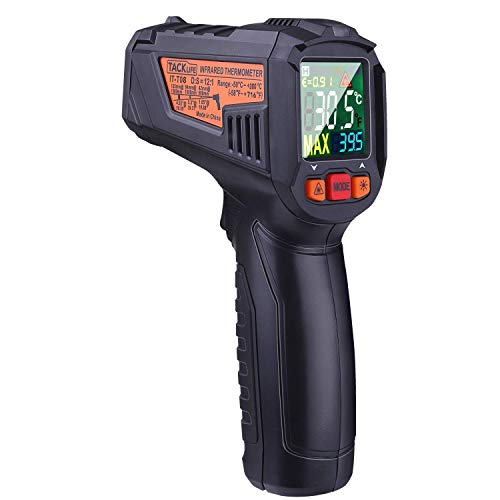 TACKLIFE Temperature Gun, 58℉~716℉(-50℃~380℃) Digital Laser Infrared Thermometer with Color LCD Screen, Alarm Setting, Max/Hold Display - IT-T08