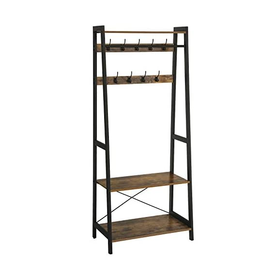 VASAGLE Industrial Coat Rack 2-Tiers, Clothing Garment Rack, Storage Shelf with 9 Heavy Duty Hooks, for Living Room Bedroom ULGR13BX - FIRST IMPRESSIONS MATTER: Bring your guests to your home with a cheerful Welcome! Take off their coat and hang it on your new coat rack in the hallway; the exciting mix of vintage and industrial design styles will certainly appeals your visitors EVERYTHING UNDER ONE ROOF: This coat rack integrates a clothes rack, shoe rack and storage rack all in one unit; coat, boots, bag and keys are always at hand with easy access BUILT TO LAST: The combination of a sturdy metal frame and high-strength chipboard ensures a high stability of the coat rack even when loaded with heavy winter jackets; anti-tip kit for extra support - hall-trees, entryway-furniture-decor, entryway-laundry-room - 41qUihnQEcL. SS570  -