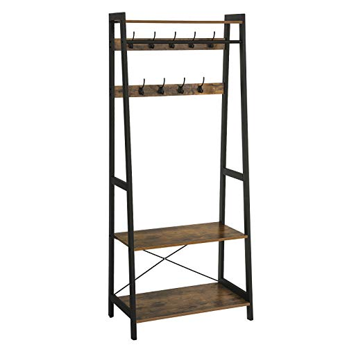 VASAGLE Industrial Coat Rack, Clothing Garment Rack 2-Tiers, Storage Shelf with 9 Heavy Duty Hooks, Wood Look Accent Furniture with Metal Frame, for Living Room Bedroom, ULGR13BX ()