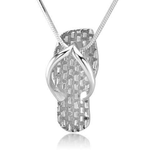 Flops Necklace Pendant - Chuvora 925 Sterling Silver Asian Weaving Flip-Flop Sandal Summer Pendant Necklace, 18 inches