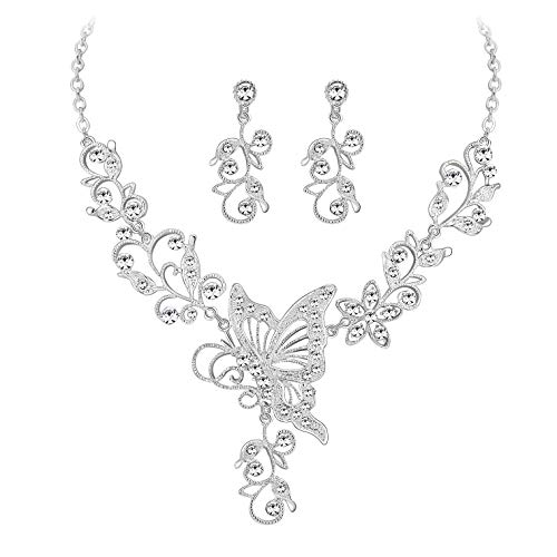 MOOCHI Silver Plated Clear Crystal Butterfly & Flowers shpae Necklace Earrings Jewelry Set (Bridal Jewelry Swarovski Sets)