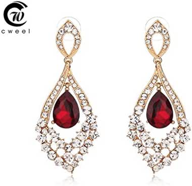 Glucky : Women Wedding Crystal Hook Drop Long Dangle Earrings For Bridal Gold Plated Party Accessories Jewelry Earring