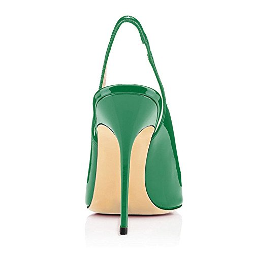 Women's Slingback Ubeauty Slip Court On Stiletto Green High Strap Pointy Shoes Basic Sandals Ankle Heel Toe F080dqr