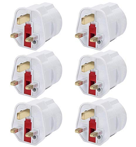 LILMACC® EU to UK Adapter, [ 6 Pack] Europe to UK Power Travel Adapter EU to UK Plug Adaptor 2 Pin France, Germany…