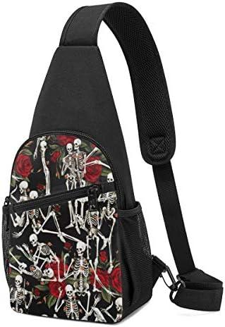 バラとスカル 斜め掛け ボディ肩掛け ショルダーバッグ ワンショルダーバッグ メンズ 多機能レジャーバックパック 軽量 大容量