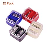 12 Pieces Dual Holes Cosmetic Pencil Sharpeners with Cover, Manual Large Eyebrow Pencil Cutter