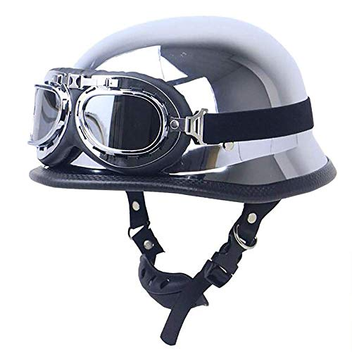 Beanie Silver Plated Motorcycle Half Helmet Helmet Open Face Half Helmet with Aviator Goggles Jet Helmet Cruiser German Defense Force Helmet Helmet DOT Certified Scooter Motorcycle Half ()