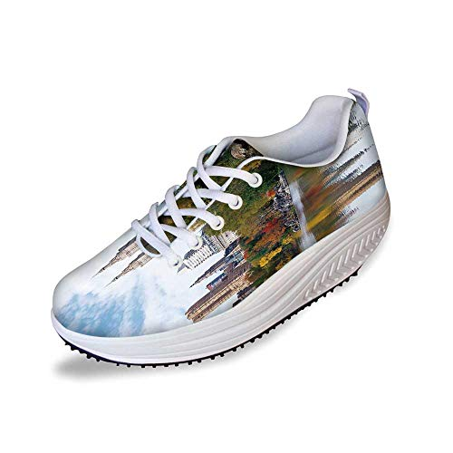 City Stylish Shake Shoes,Manhattan Central Park Panorama in Autumn Scenic Lake View Colorful Trees Reflection for Women,7