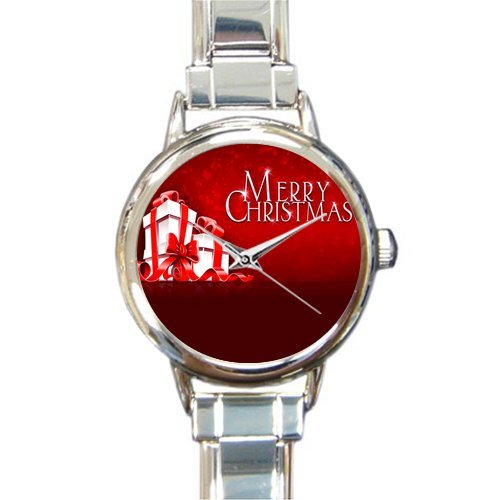 Personalized Watch Merry Christmas Quotes With Gift Round Italian Charm stainless steel Watch