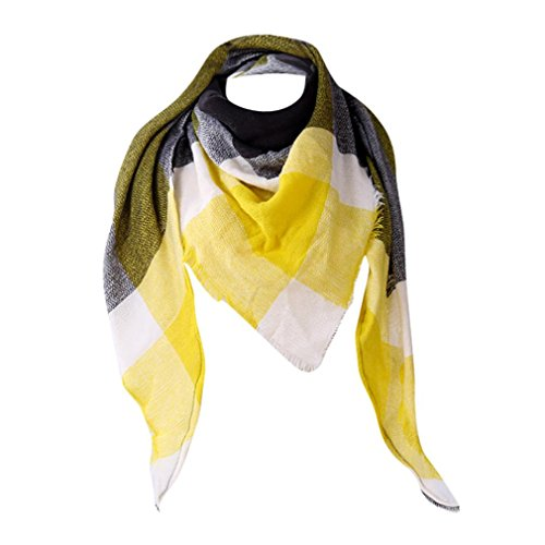 Hot Sale Scarf,Han Shi Women Fashion Cashmere Autumn Winter Plaid Wool Scarves Shawl Blanket (Yellow, L)