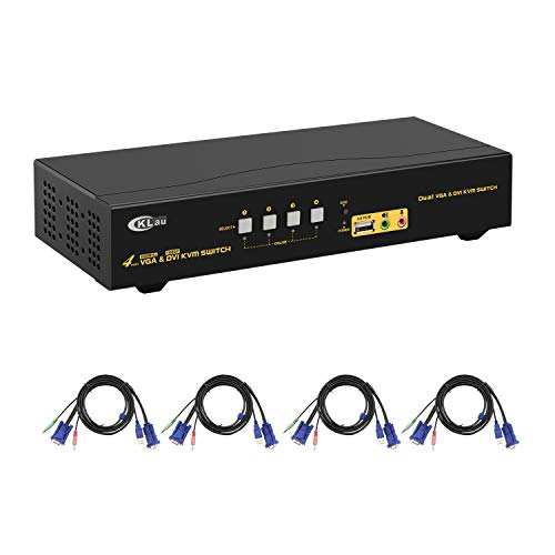 CKLau 4 Port VGA DVI Dual Monitor KVM Switch Extended Display with Audio Microphone and USB 2.0 Hub with 4pcs 5ft KVM Cables