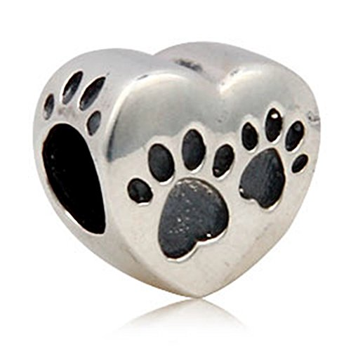 (Heart Paw Beads Charm Animal Charm footprint Beads fit for DIY Charms Bracelets )