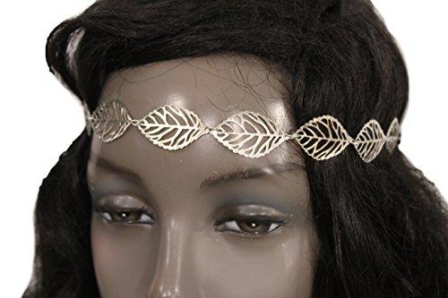 TFJ Women Head Fashion Hair Jewelry Elastic Headband Silver Metal Long Leaves Leaf Circlet Wedding (Halloween Castume)