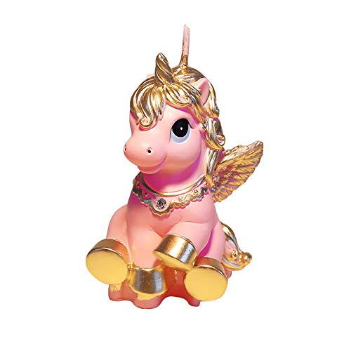 (Cake Decorating Supplies - Amazing Mini Unicorn Model Art Cake Candle Children Baby Birthday Candles Decor Pink Pony Gifts - Poker Plates Pearls Carrier Figurines Letters Topper Stencils Pr)