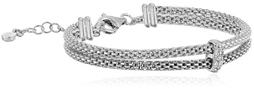 925 Sterling Silver Italian Rhodium-Plated Double-Strand Box Chain and Swarovski Crystal Bracelet, 7.5