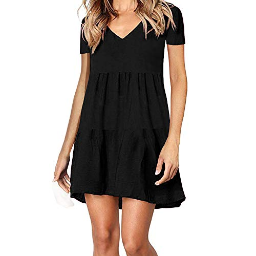 SHERONV Women's Short Sleeve V Neck Casual Loose Swing Ruffled Shift Tunic Dress (Black, Medium)
