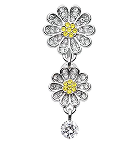 - Daisy Glam Multi-Gem Reverse 316L Surgical Steel Freedom Fashion Belly Button Ring (Sold Individually)