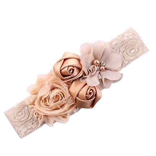 Shineweb Baby Girl Cute Lace Rose Bud Hairband Headband Khaki