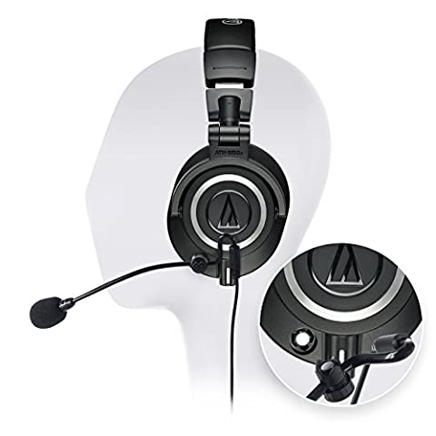 Audio-Technica ATH-M50x Professional Studio Headphone - INCLUDES - Antlion Audio ModMic Attachable Boom Microphone - Noise Cancelling w/ Mute Switch + Y Splitter - ULTIMATE GAMING (Magnet For Mod)