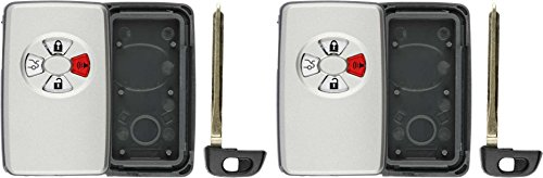 (KeylessOption Keyless Remote Smart Car Key Fob Case Shell Outer Cover Button Pad Housing For HYQ14AAF (Pack of 2))