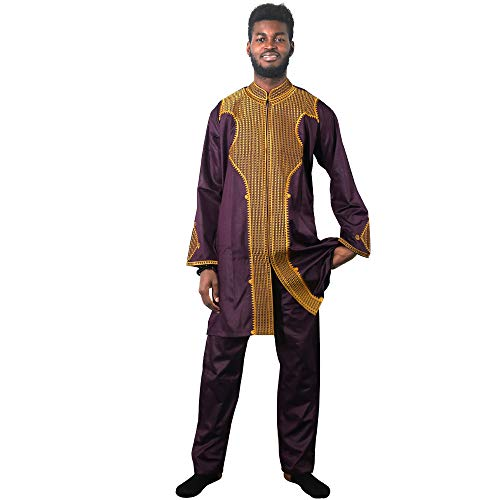 HD Dashiki African Couple Clothing for Man, Traditional Bazin Shirt Men Wedding Dresses,M-Purple ()