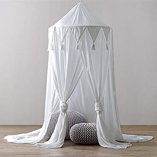 - Vibola Baby Mosquito Net, Bed Round Dome Canopy Cotton Linen Tassel Mosquito Net for Kids (White)