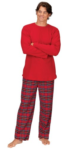 Red Cotton Flannel Stewart Plaid Matching Pajamas For The