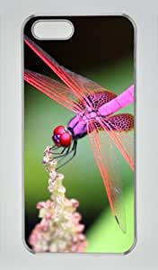 Pink Dragonfly Iphone 5 5S Hard Shell with Transparent Edges Cover Case by Lilyshouse