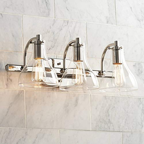 Minka Lavery Urban Industrial Wall Light Fixtures 5724-77 Transitional Bath Glass Bath Vanity Lighting, 4 Light, Chrome